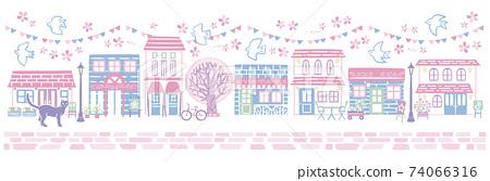 활기찬 봄의 벚꽃 거리 74066316