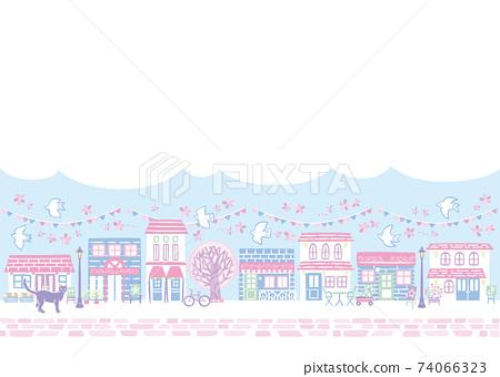 활기찬 봄의 벚꽃 거리 74066323