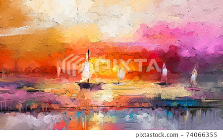 Colorful oil painting on canvas texture. Impressionism image of seascape paintings with sunlight background. Modern art oil paintings with boat, sail on sea. Abstract contemporary art for background 74066355