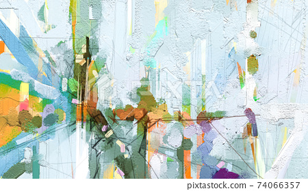Abstract colorful oil painting on canvas texture. Hand drawn brush stroke, oil color paintings background. Modern art oil paintings with yellow, red color. Abstract contemporary art for background 74066357