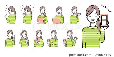 與智能手機,個人電腦和數字相關的女性插圖 74067415