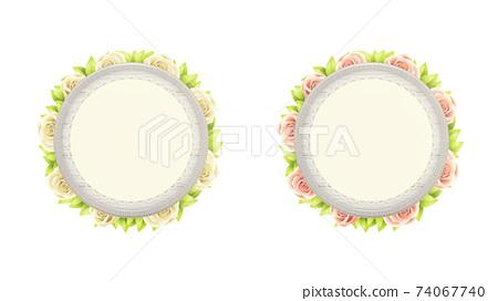 一套圓的白色木製框架和植物。帶花邊。 74067740