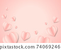 Sweet Love Valentine's day concept greeting card abstract background. Vector illustration. 3d pastel pink hearts on pastel pink background colour palette 74069246