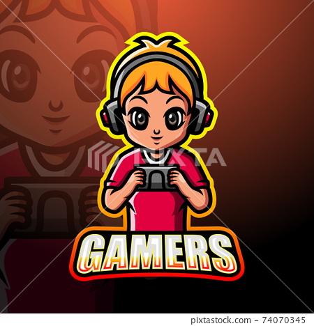 Gamer boy mascot esport logo design	 74070345