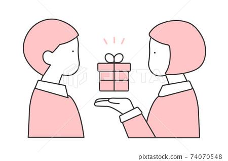 給禮物的女孩的例證男孩 74070548