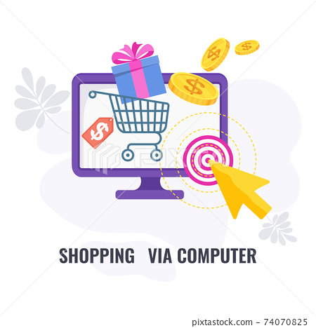 Shopping via computer infographic icon. Elements of direct marketing. 74070825