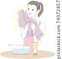 用毛巾洗臉 74072857