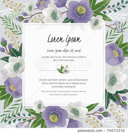 Vector illustration of a beautiful floral frame in spring for Wedding, anniversary, birthday and party. Design for banner, poster, card, invitation and scrapbook  74073338
