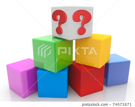 White toy cube with red question mark above colorful toy cubes 74073871