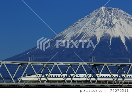 Shinkansen crossing the Fuji River and Mt. Fuji 74079511