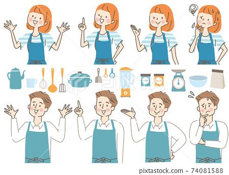 男人和女人在圍裙和廚房的圖標集 74081588