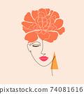 minimal woman face. 74081616