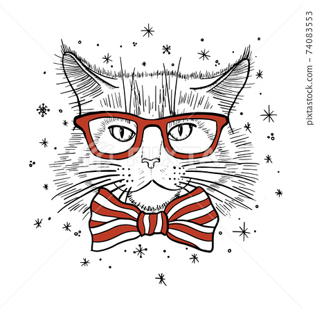 Hand drawn portrait of Cat in glasses with bow tie. Vector illustration isolated on white 74083553