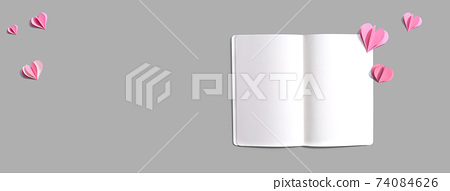 White notebook with paper hearts 74084626