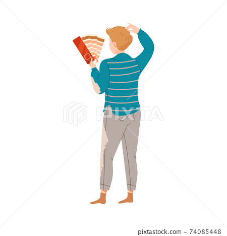 Young Man Choosing Paint Color for Wall in New Apartment Vector Illustration 74085448