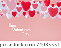 3D Valentines day greeting card 74085551