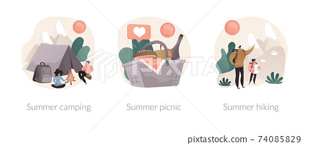 Summer adventure abstract concept vector illustrations. 74085829