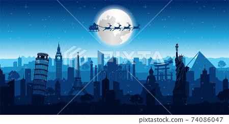 world landmarks and Santa claus sending gift to everyone,vector illustration 74086047
