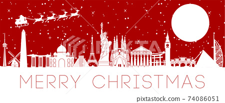 world landmarks and Santa claus sending gift to everyone,vector illustration 74086051