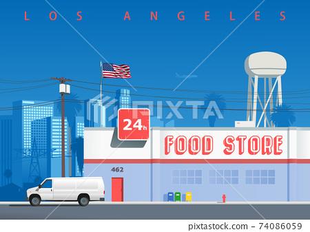 A street in the Los Angeles neighborhood 74086059