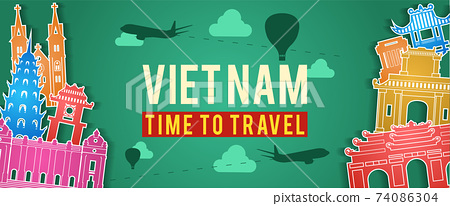 green banner of Vietnam famous landmark silhouette colorful style,plane and balloon fly around with cloud,vector illustration 74086304