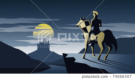 knight on horseback stand on cliff look to castle and try to go there,silent and scary night,silhouette design,vector illustration 74086307
