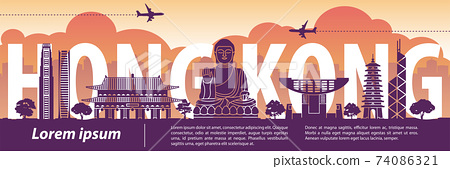 Hong Kong famous landmark silhouette style,text within,travel and tourism,vector illustration 74086321
