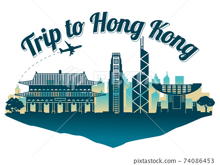Hong Kong famous landmark silhouette style on float island,travel and tourism,dark blue green color,vector illustration 74086453