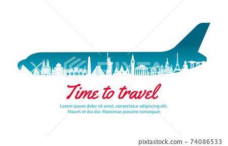 world landmark inside with plane shape,concept art  silhouette style,vector illustration,green blue gradient,vector illustration 74086533