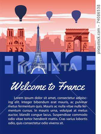France landmark brochure in typography national flag color design,advertising artwork,vector illustration 74086538