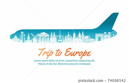 europe landmark inside with plane shape,concept art  silhouette style,vector illustration,green blue gradient,vector illustration 74086542