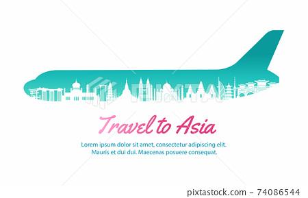 Asia landmark inside with plane shape,concept art  silhouette style,vector illustration,pink gradient,vector illustration 74086544