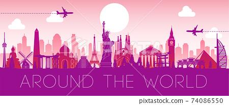 world famous landmark pink silhouette design,vector illustration 74086550