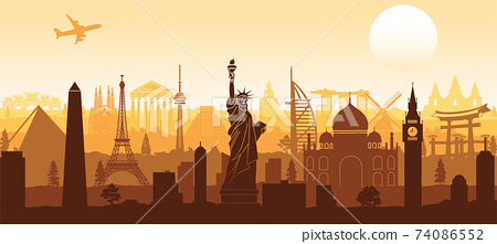 world famous landmark silhouette style with row design on sunset time,vector illustration 74086552