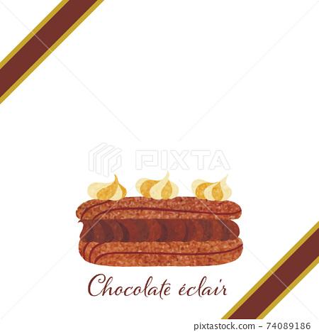 Chocolate Eclair_Frame_Present_Ribbon_彩色鉛筆手繪觸摸 74089186