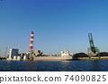 Coastal cargo ship unloading at the wharf 74090825