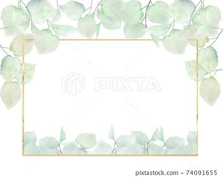 水彩綠色夏天框架背景生態生態通風風植物 74091655
