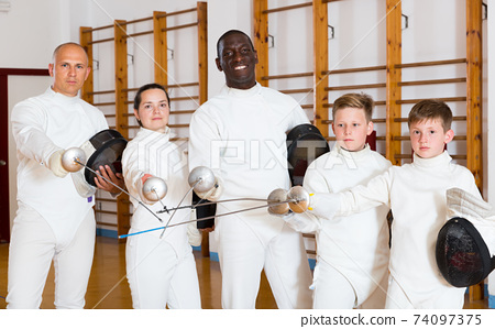 athletes fencers with rapiers 74097375