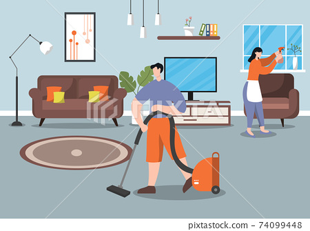 Cleaning Service Concept. Vector Flat Design Cartoon Illustration 74099448