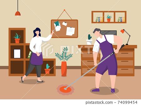 Cleaning Service Concept. Vector Flat Design Cartoon Illustration 74099454
