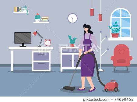 Cleaning Service Concept. Vector Flat Design Cartoon Illustration 74099458