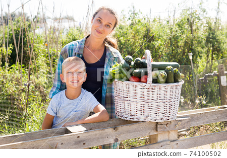 Woman and boy with gathered vegetables 74100502
