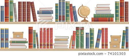 많은 책과 지구와 수납 박스가 늘어선 책장. 흰색 배경 벡터 일러스트. 74101303