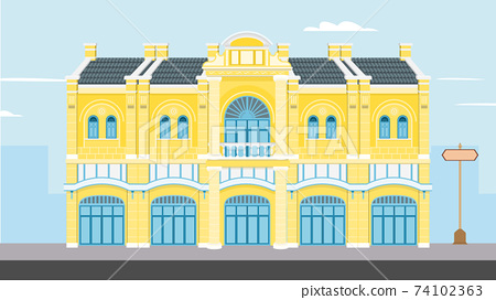 Thai Vintage building vector illustration.Goverment buildings on street flat design.Old historic building in Bangkok.Classic house on raod with city background 74102363
