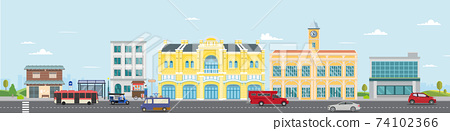 Thai culture street with vintage building and market.Vector illustration.Cars driving city street panorama Thailand urban.Facade city and car.Thai classic home.City scape with sky background. 74102366