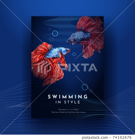 Poster template with Siames fighting fish concept design for advertise and marketing watercolor vector illustration 74102676
