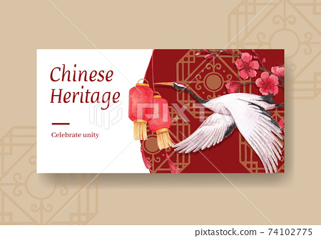 Twister template with Happy Chinese New Year concept design with social media and community watercolor vector illustration 74102775