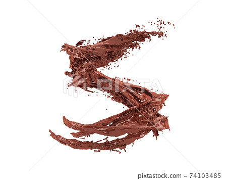 3d illustration of chocolate splash on white background with clipping path 74103485