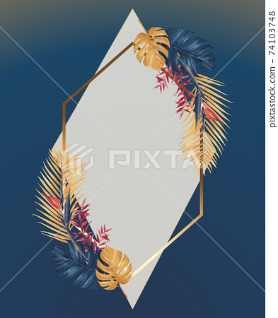 Wreath with pampas floral watercolor vector illustration 74103748