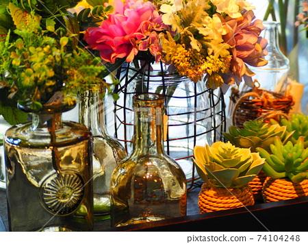 房間內擺放著觀賞植物(仙人掌,花束) 74104248